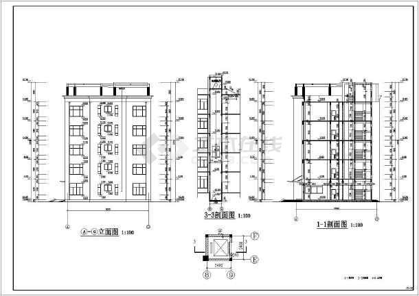 五层框架结构办公楼毕业设计(含建筑图 结构图 计算书)