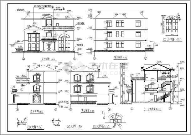 某三层别墅建筑设计图(长18.5米 宽12米)