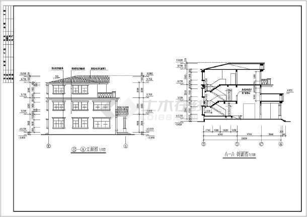 简欧风格三层带旋转楼梯自建别墅建筑设计图图片1