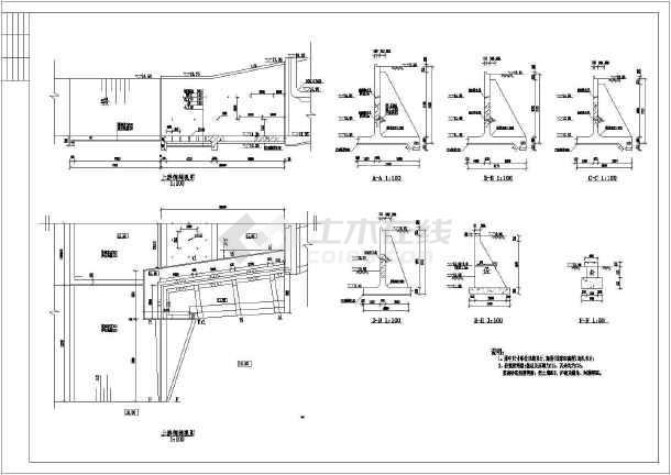 常用道路挡土墙结构cad设计施工图