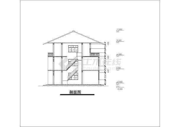 农村坡面瓦屋顶三层小洋楼建筑设计施工cad图纸
