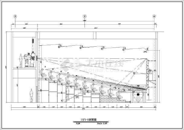 该图纸为某地框架结构电影院影厅(四个厅)室内装修设计施工图,包括图片