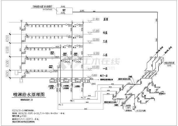 图纸 给排水图纸 高层建筑给排水图 公共场所 某地4层框架结构汽车站