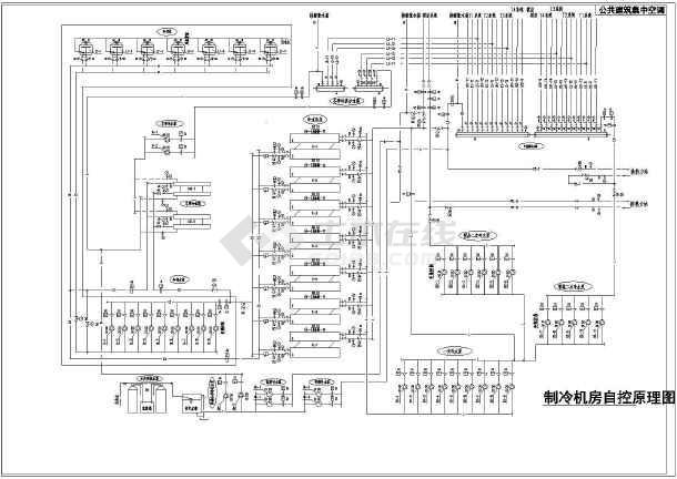 筑集中空调制冷大样自控图纸图纸机房_cad图cad的原理图片