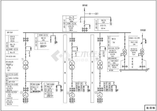 某工业厂区小型水电站电气一次主接线图