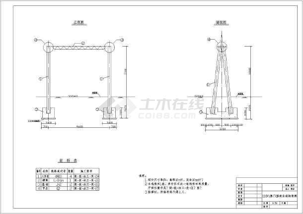 某变电站设备基础结构布置及钢筋图