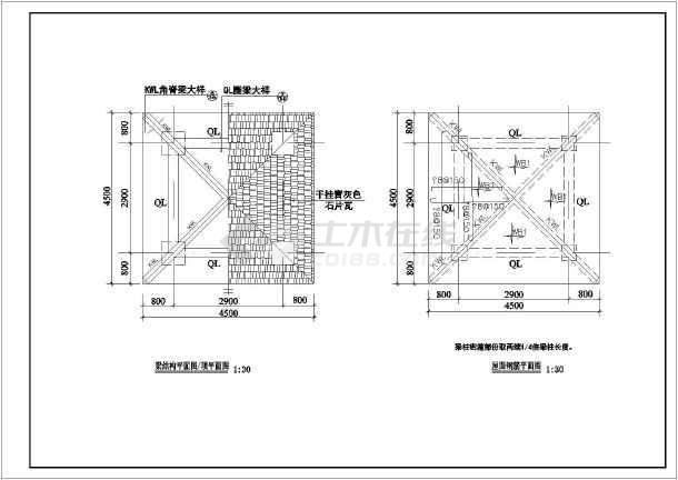 个仿古风格亭子建筑设计施工图