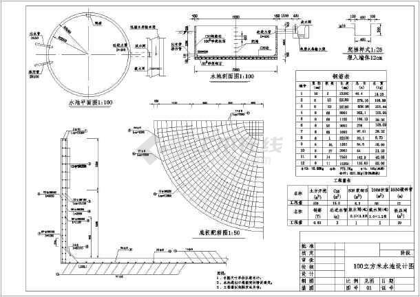 图纸 水利工程设计图  引调水工程(引水工程图纸)  蓄水池  100-500