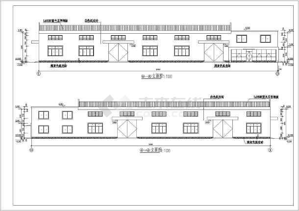 夹层钢结构生产车间,图纸包括:首层,上层窗平面图,屋面平面图,,剖面图