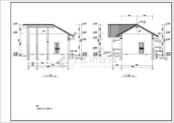 某单层砖混结构管理房建筑结构设计施工图