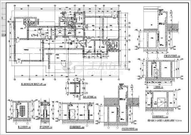 某小区带双层停车位的人防地下室建筑设计施工图图片