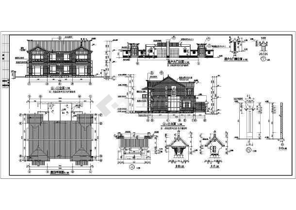 某地二层框架结构中式别墅建筑设计方案图纸图片