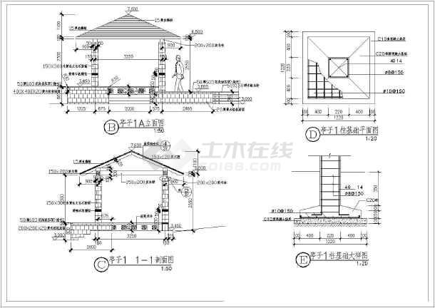 各种样式亭子大样建筑施工图