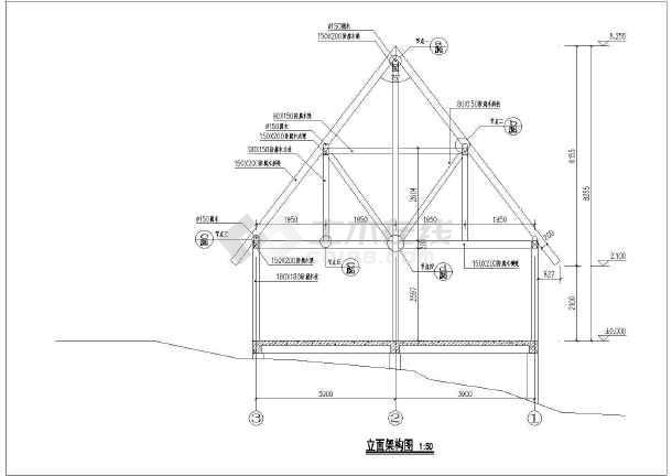 奉节三套小别墅木结构建筑设计施工图-图3