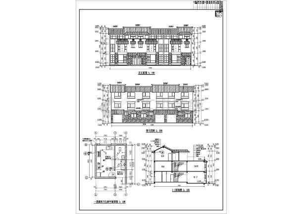 某地三层图纸式联排别墅v图纸施工图(含效果图民居梁土建代号图片