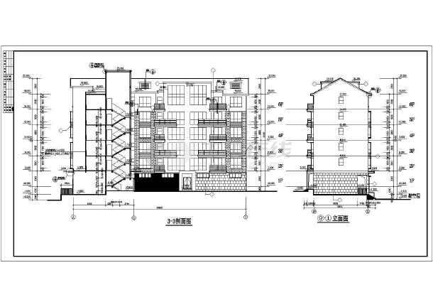 中式传统风格多层住宅楼建筑立剖面施工图图片