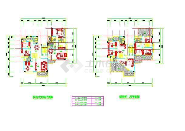 某地某跃层式住宅楼户型设计平面图