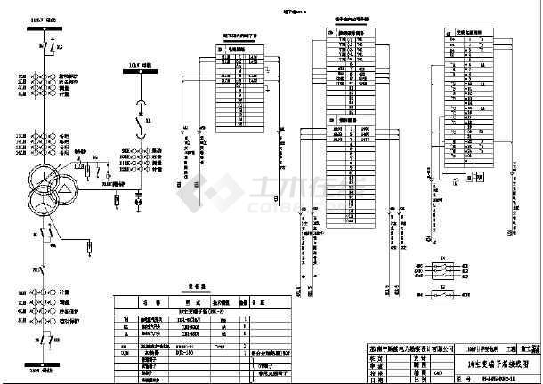 某地中小型电站电气主变端子箱接线图图片1