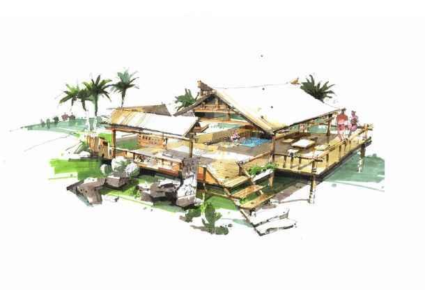 图纸 园林设计图  园林景观效果图  园林景观手绘图(手绘图)  园林