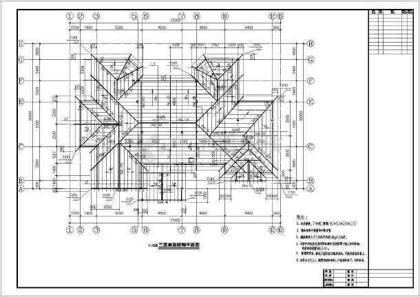 某公司坡方法别墅轻钢结构设计施工图建筑设计屋顶成本管理二层图片