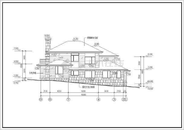 别墅建筑设计方案,图纸包含一二层平面图,屋顶平面图,各朝向立面图及