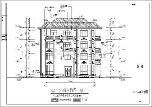 某4层框架结构独栋别墅建筑方案设计图纸