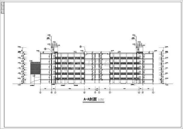 图纸 建筑图纸 教育建筑 中学教学楼设计图 六层框架结构中学教学楼图片