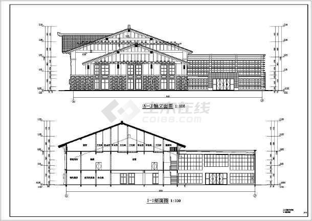 景区游客中心框架结构建筑结构全套施工图-图1