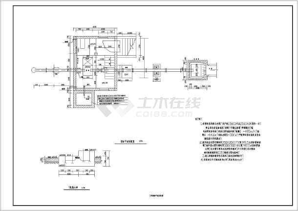 1号泵站平面布置图,泵站剖面图,机房,钢筋砼屋面结构平面,楼板配筋图