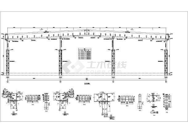 钢结构图纸 门式刚架 【张家口】某3连跨格构柱厂房施工图(局部夹层)