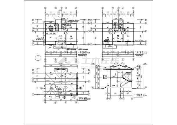 该为某地二层砖混别墅结构设计施工,该图纸包括:,建筑各层,屋顶