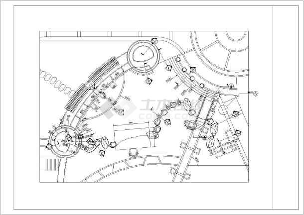 圆形花坛手绘剖面图