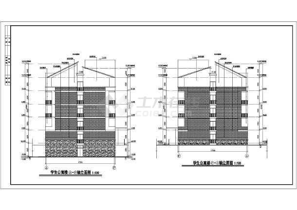 图纸 建筑图纸 教育建筑 大学生宿舍设计 某地五层框架结构宿舍楼建筑图片