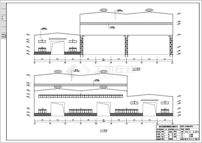 江西某造船公司重型钢结构双层吊车厂房结构图