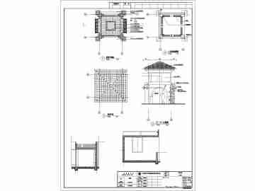双层欧式风格的景观亭详细的施工图纸