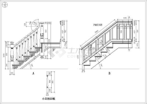 某护墙板楼梯详细建筑构造设计详图_cad图纸下载-土木