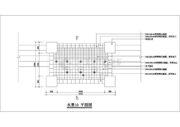 某跌水式景墙,喷泉水景设计方案详图