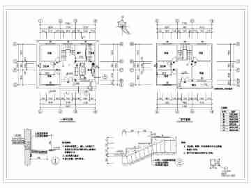 某地两层砖混结构农村别墅建筑,结构设计施工图纸