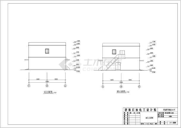 为沿海某厂区二层食堂建筑设计方案图,采用,图纸内容包含:各层,总平面