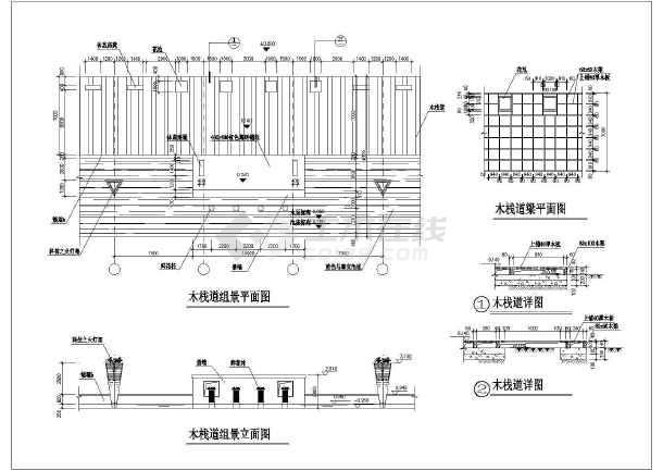 6种形式多样的防腐木栈道的施工图(收集)