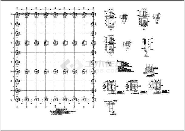 图纸 建筑结构图 钢结构图纸 门式刚架 某地3连跨单层轻型门式钢架