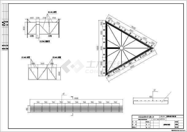 某市16米高钢结构三面广告塔图纸