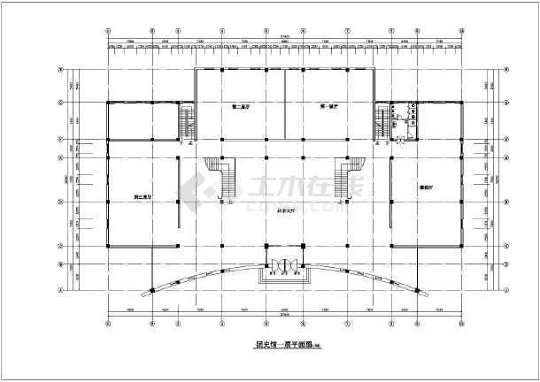 某团史馆建筑方案,结构设计施工图,包括建筑平面图,基础结构平面图