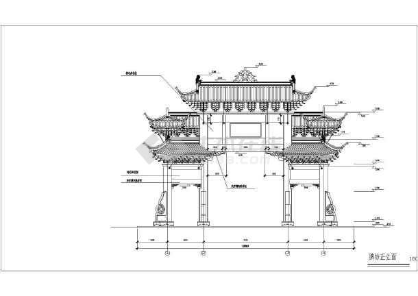 图纸 建筑图纸 古建筑设计 牌楼牌坊 某地混凝土结构仿古牌坊建筑设计