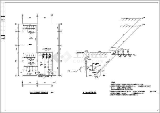 燃气热水锅炉房图纸_水源热泵机组和燃气热水锅炉联合供暖空调机房设计图_cad图纸 ...