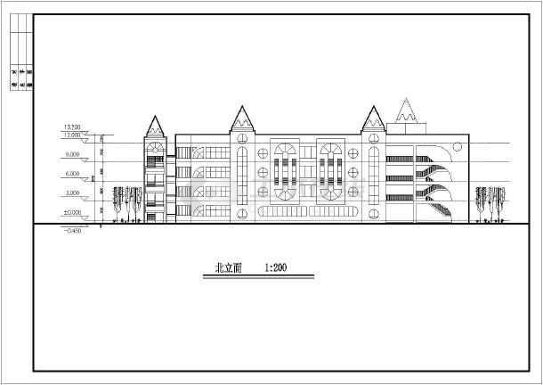幼儿园建筑设计方案图纸,该图纸包括:建筑各层平面图,屋顶平面图,立面