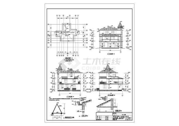 某地三层框架结构独栋别墅建筑设计方案图纸