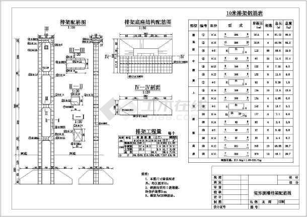 矩形渡槽槽身及排架水利工程设计图_cad图纸下载-土木