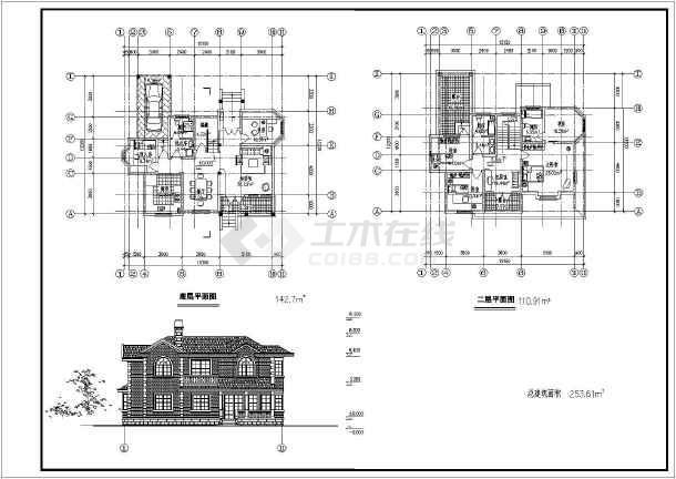 某地两层砖混结构别墅建筑设计方案图纸图片