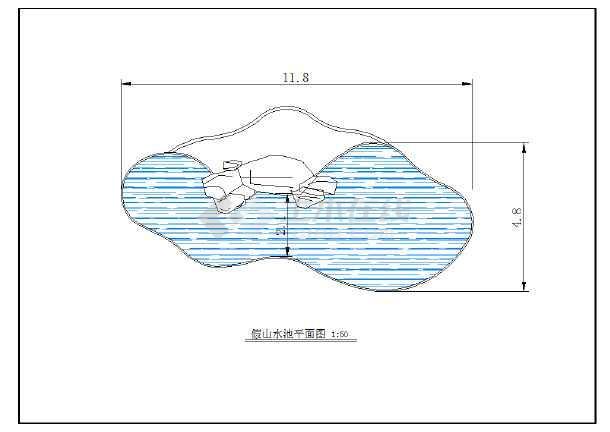 某地区公园大型假山水池详细施工平面图图片1